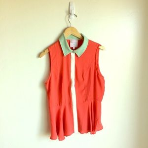 Romeo & Juliet Couture Coral Green Top Size M
